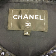 Chanel Navy Blue Tweed Faux Pearl Vest
