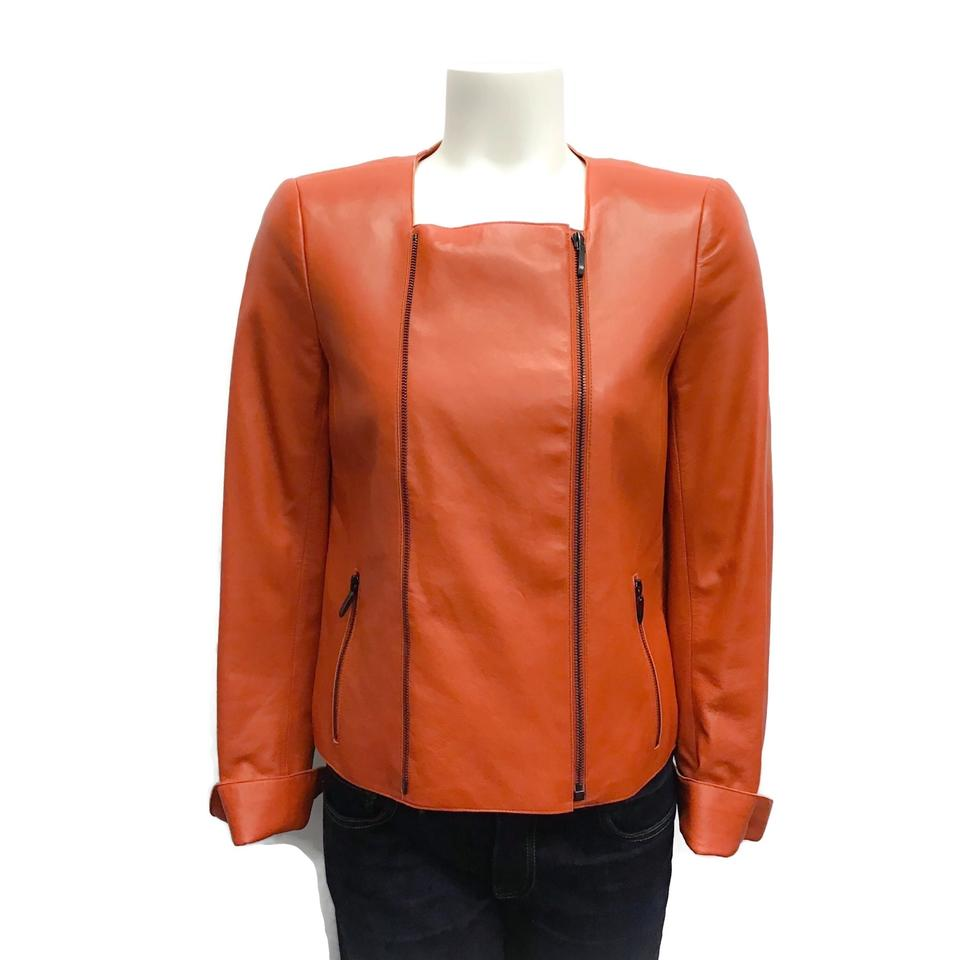 Akris Orange Zipper Leather Jacket