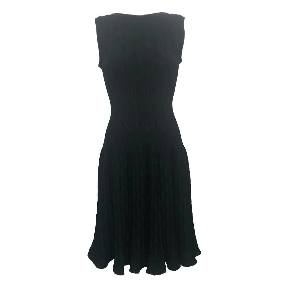 ALAÏA Black and Dark Green Knit Metallic Dress