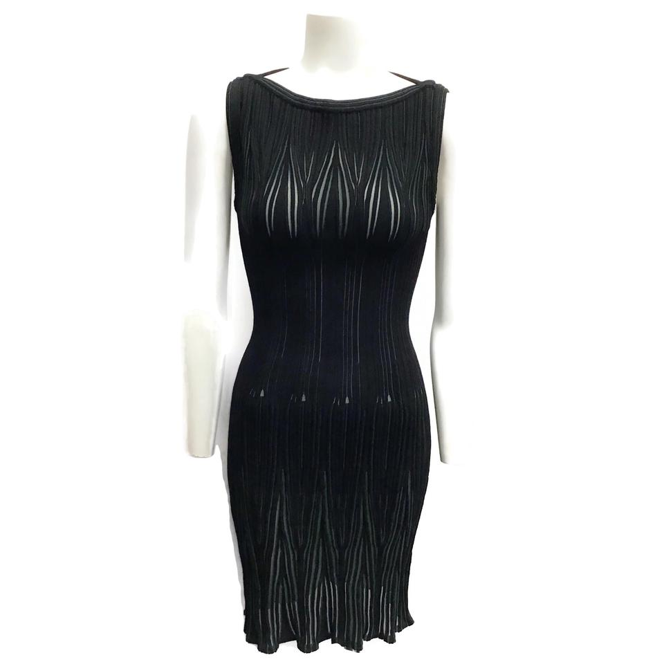 ALAÏA Black/Green Ribbed Sheer Dress