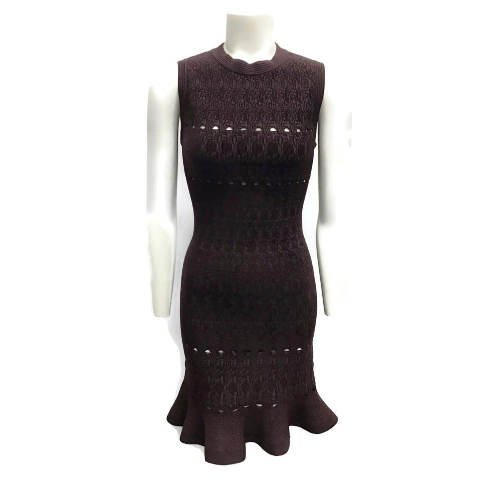 ALAÏA Brown Textured Knit Dress