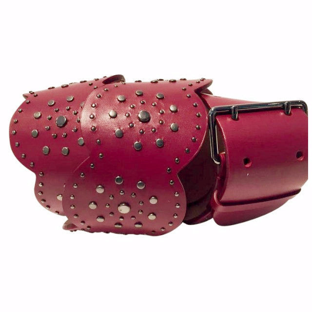 Studded Scalloped Belt Red by Alaïa