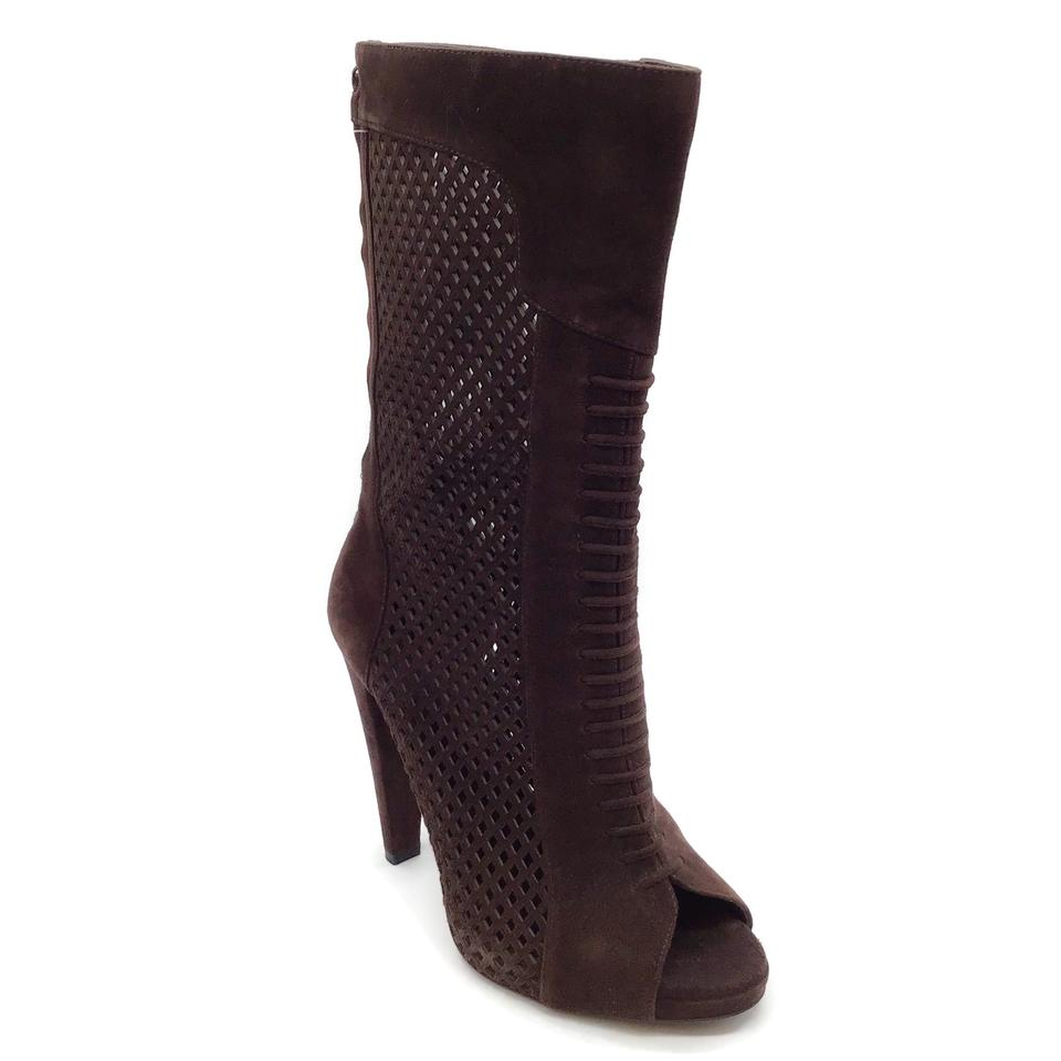 Alberta Ferretti Brown Suede Perforated Peep-toe Boots
