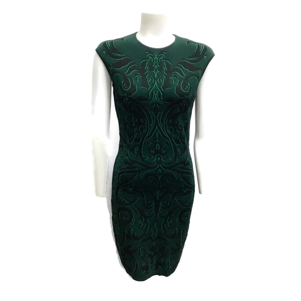 Alexander McQueen Emerald/Black Knit Dress