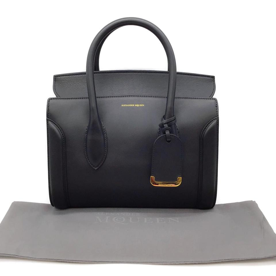 Alexander McQueen Heroine 30 Black Leather Satchel