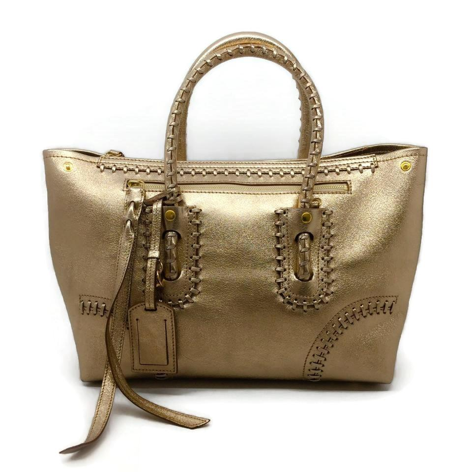Alexander McQueen Gold Leather Skull Tote