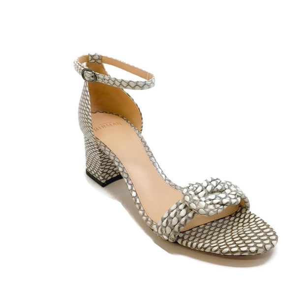 Alexandre Birman Cream/Taupe Exotic Embossed Sandals