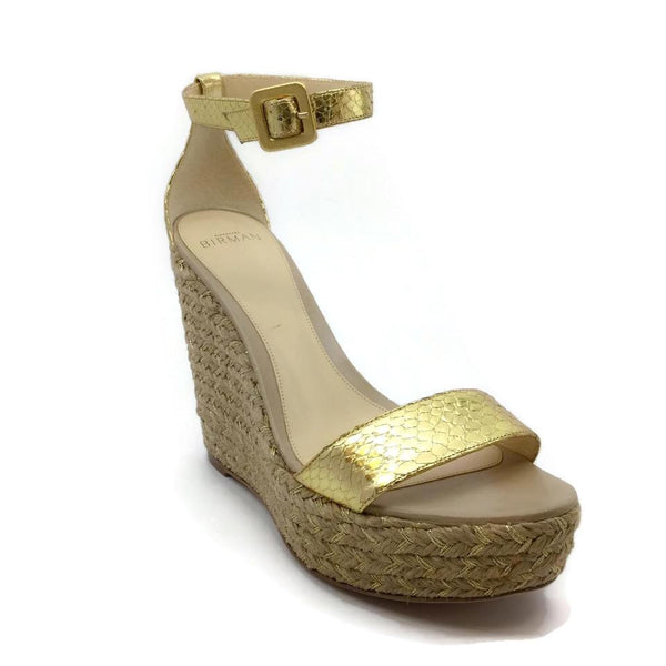 Alexandre Birman Gold Metallic Espadrille Platforms