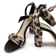 Alexandre Birman Green / Leopard Print Pony Hair Sandals