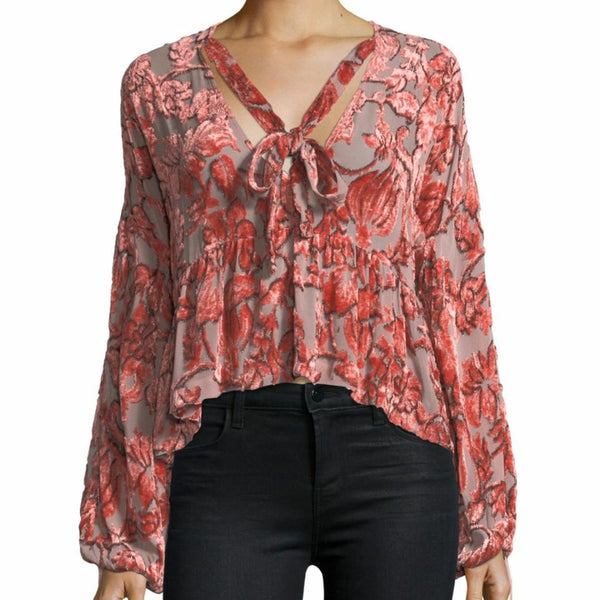 Alexis Salmon Burn Out Velvet Carina Tie-neck Blouse