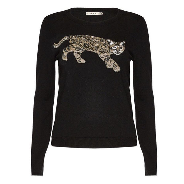 Alice + Olivia Bengal Tiger Black Multi Beaded Sweater