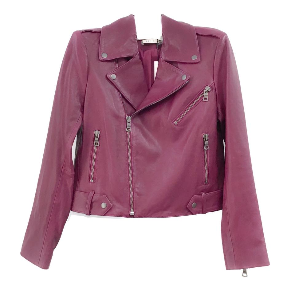 Alice + Olivia Magenta Moto Leather Jacket