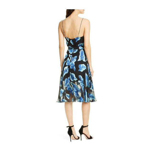 Alice + Olivia Paradise Leaves Blue/Black Dress