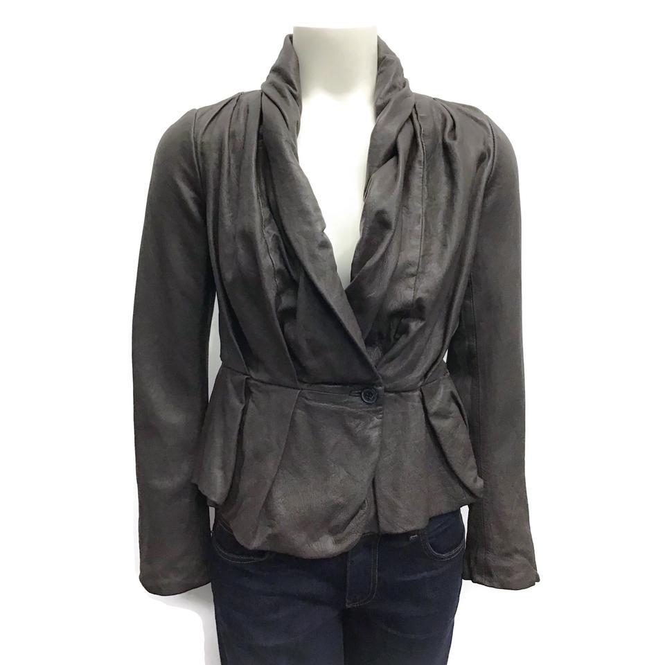 All Saints Brown Ruched Leather Jacket