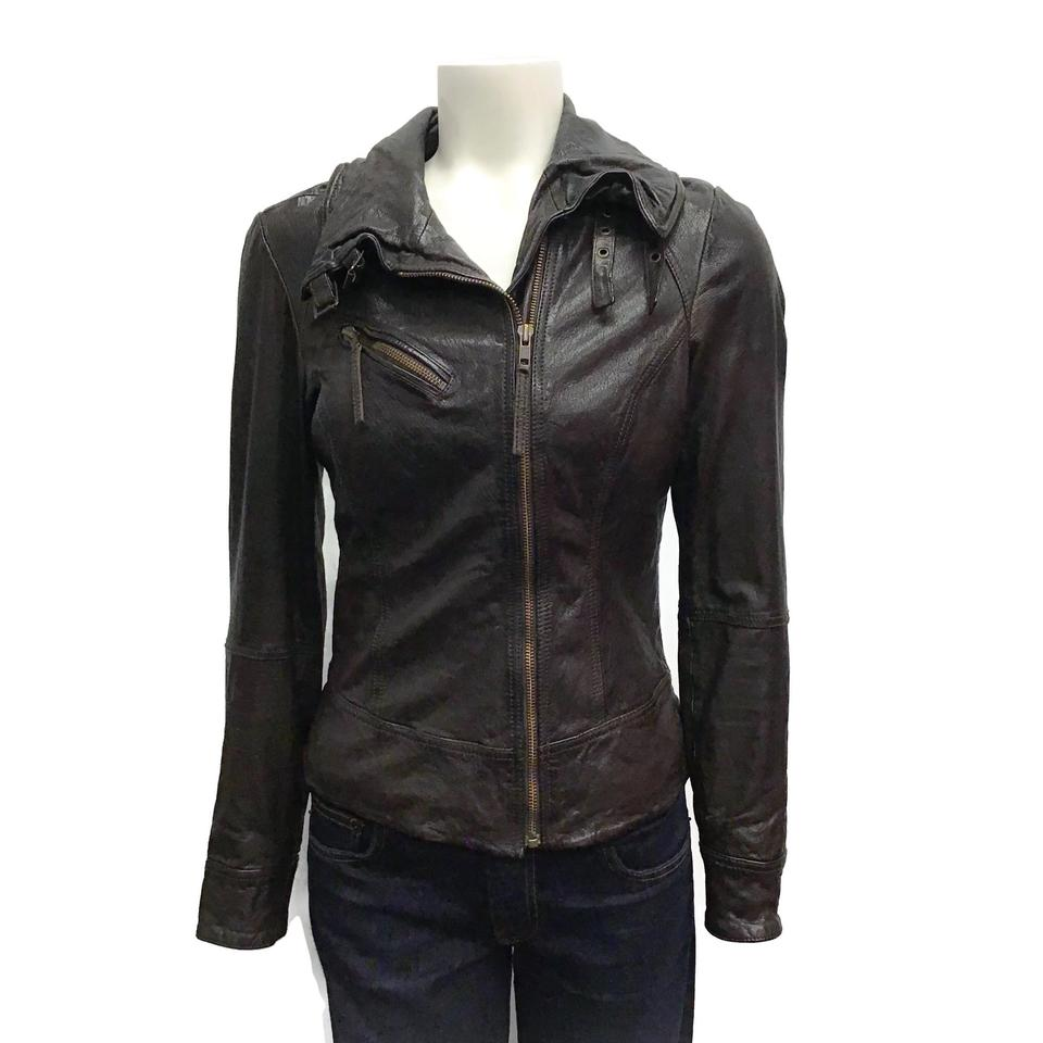 All Saints Dark Brown Distressed Leather Jacket