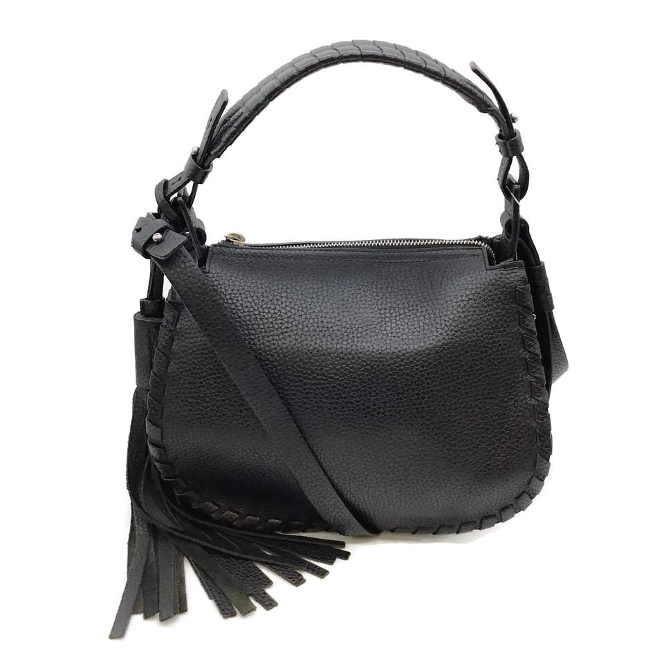 All Saints Pebbled Black Leather Cross Body Bag