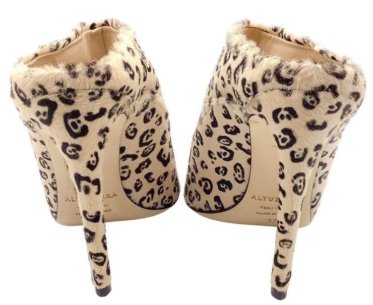 Altuzarra Cream / Brown Animal Print Pony Hair Mules