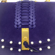 Altuzarra Ghianda Purple Suede Woven Shoulder Bag