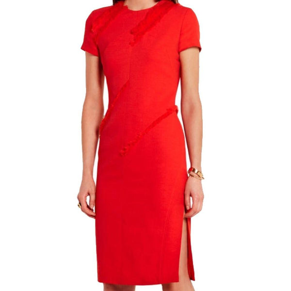 Altuzarra Poppy Red Spider Stretch Crepe Dress