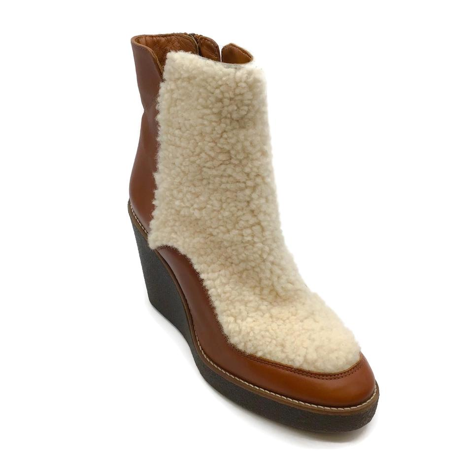 Aquatalia Cognac Violett Leather/Shearling Booties