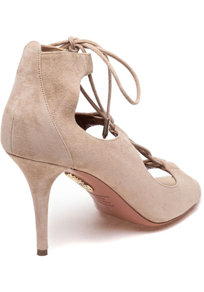 Christy 85 Nude Pumps by Aquazzura back