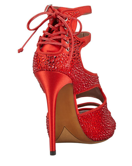 Bailey Red Satin Crystal Pumps by Tabitha Simmons rear angle