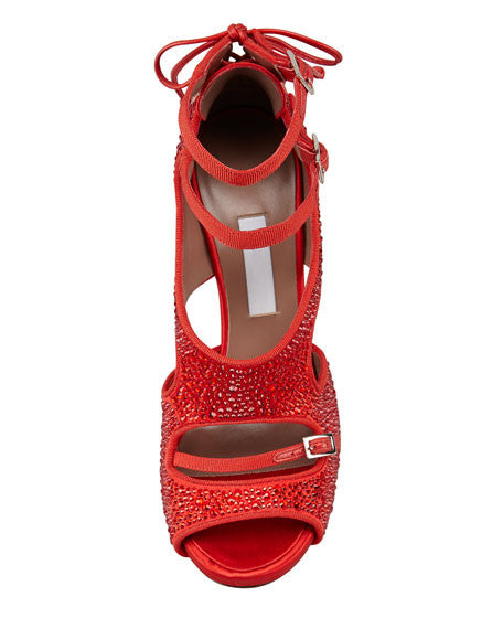 Bailey Red Satin Crystal Pumps by Tabitha Simmons top