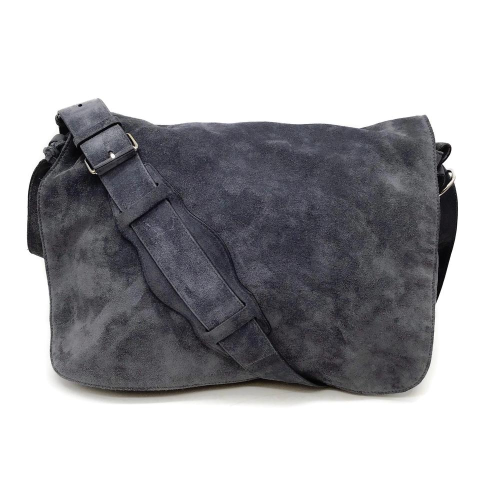 Balenciaga Flap Slate Blue Suede Messenger Bag