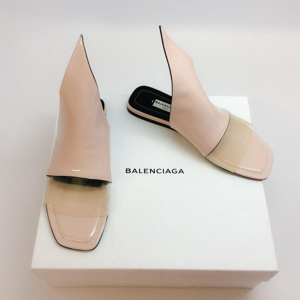 Blush Patent Point Sandals by Balenciaga with box