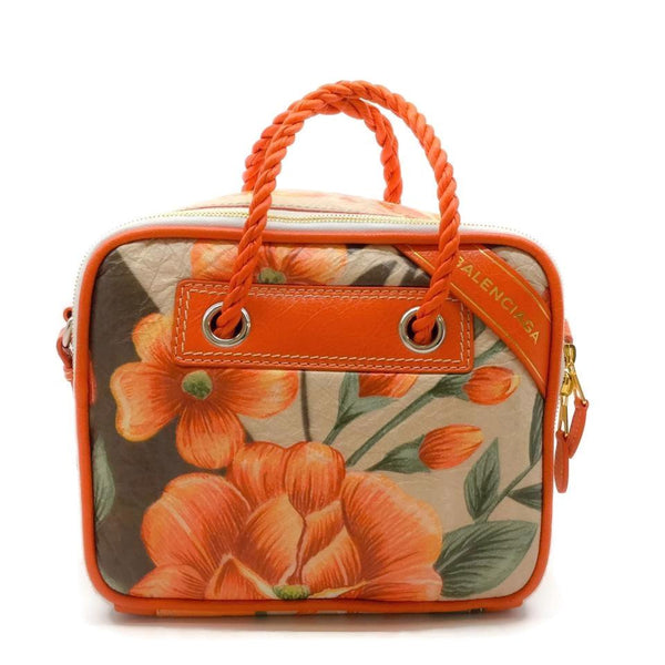 Balenciaga Tropical Orange / White Leather Shoulder Bag