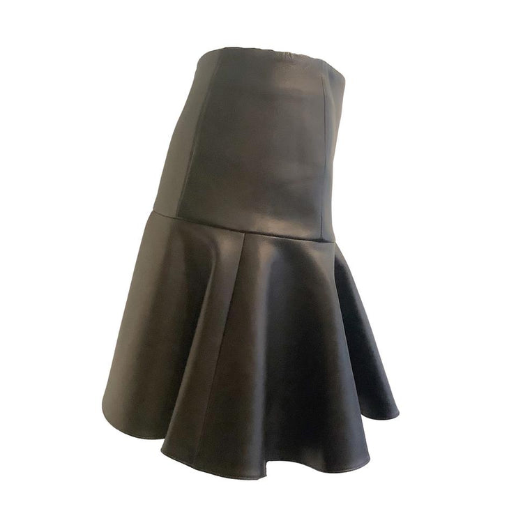 Barbara Bui Black Leather Flounce Skirt