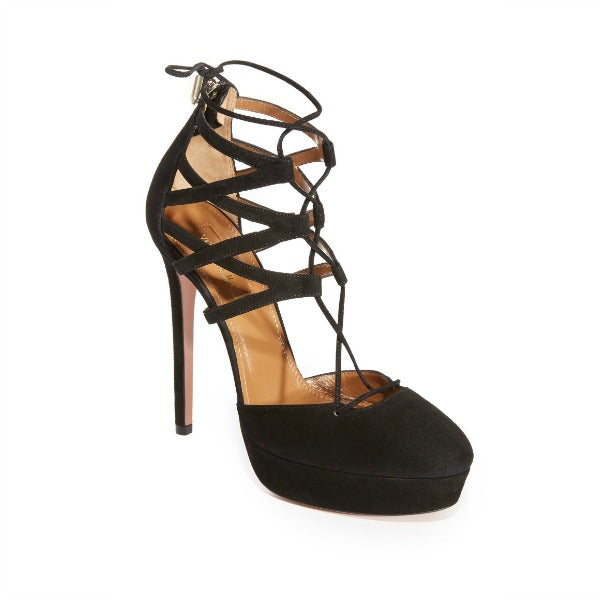 Belgravia Plateau 130 Black Pumps by Aquazzura