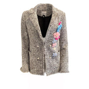 Edward Achour Paris Black and White Tweed Embellished Blazer