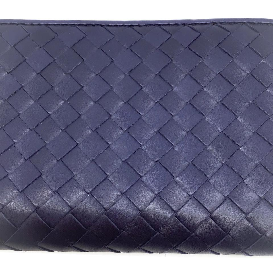 Bottega Veneta Navy Leather Woven Wallet