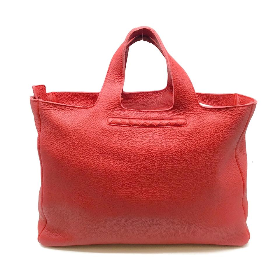 Bottega Veneta Pebbled Red Leather Satchel