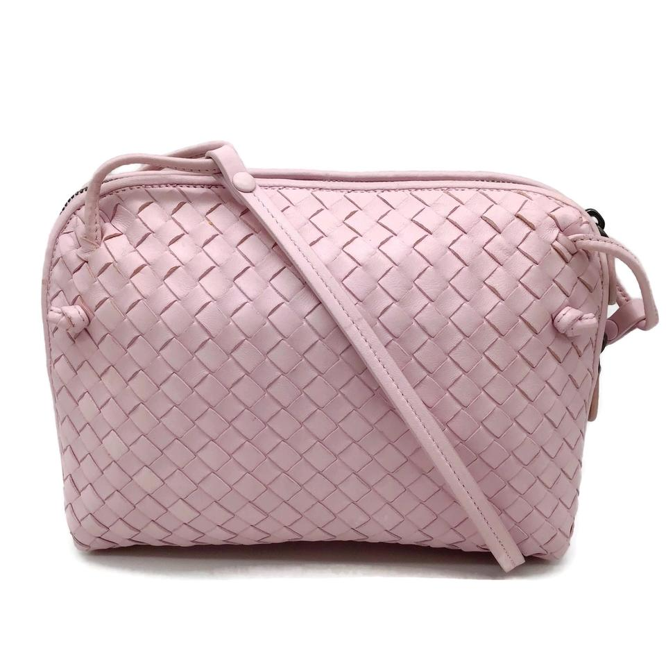 Bottega Veneta Woven Pink Leather Crossbody Bag