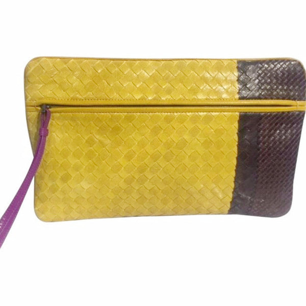 Intrecviato Gold/purple/brown Clutch by Bottega Veneta back