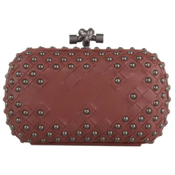 Waxy Studded Intrecciato Leather Box Clutch by Bottega Veneta