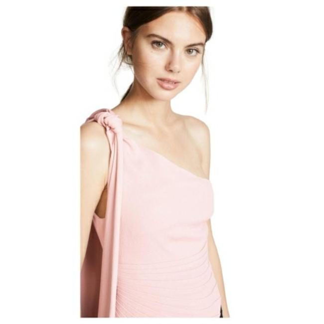Brandon Maxwell Pink Fan Pleated One Shoulder Top
