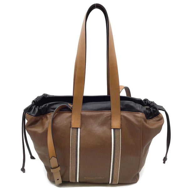 Brunello Cucinelli Monili Shopper Brown Nappa Leather Tote