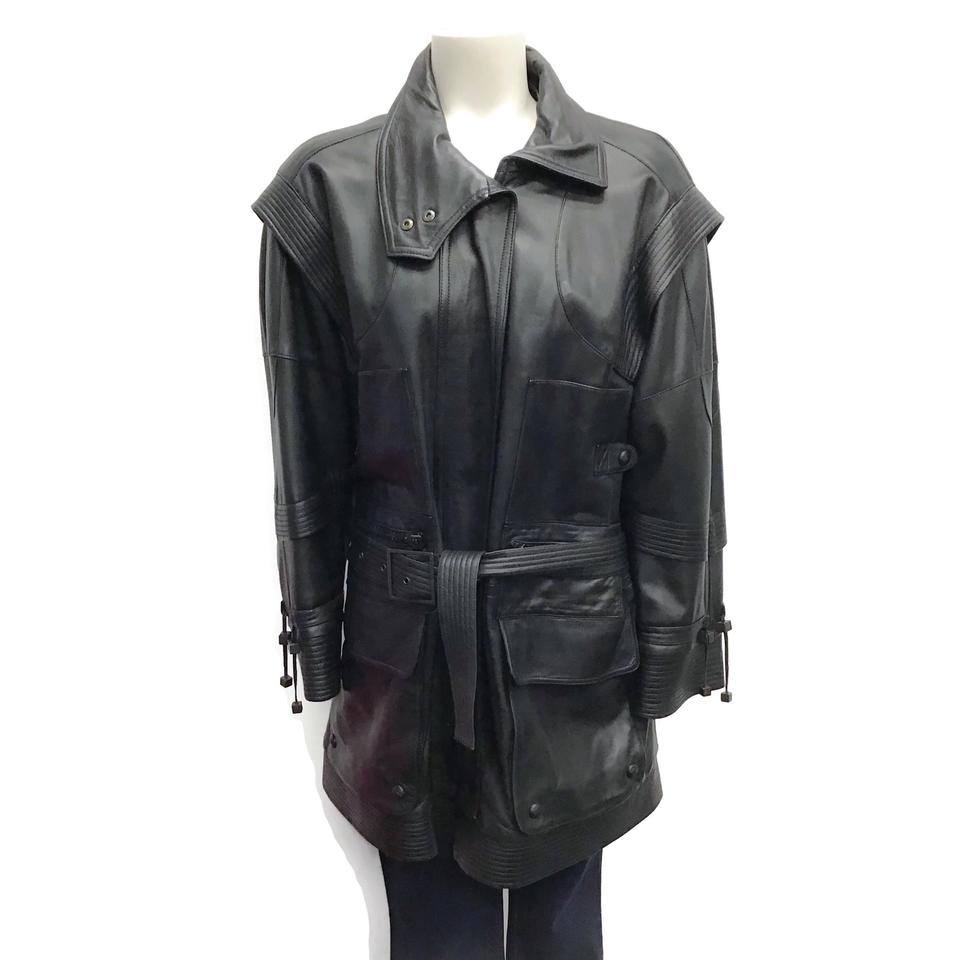 Burberry Black Belted Leather Jacket