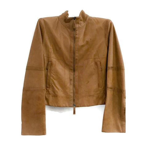 Burberry London Cognac Distressed Leather Jacket
