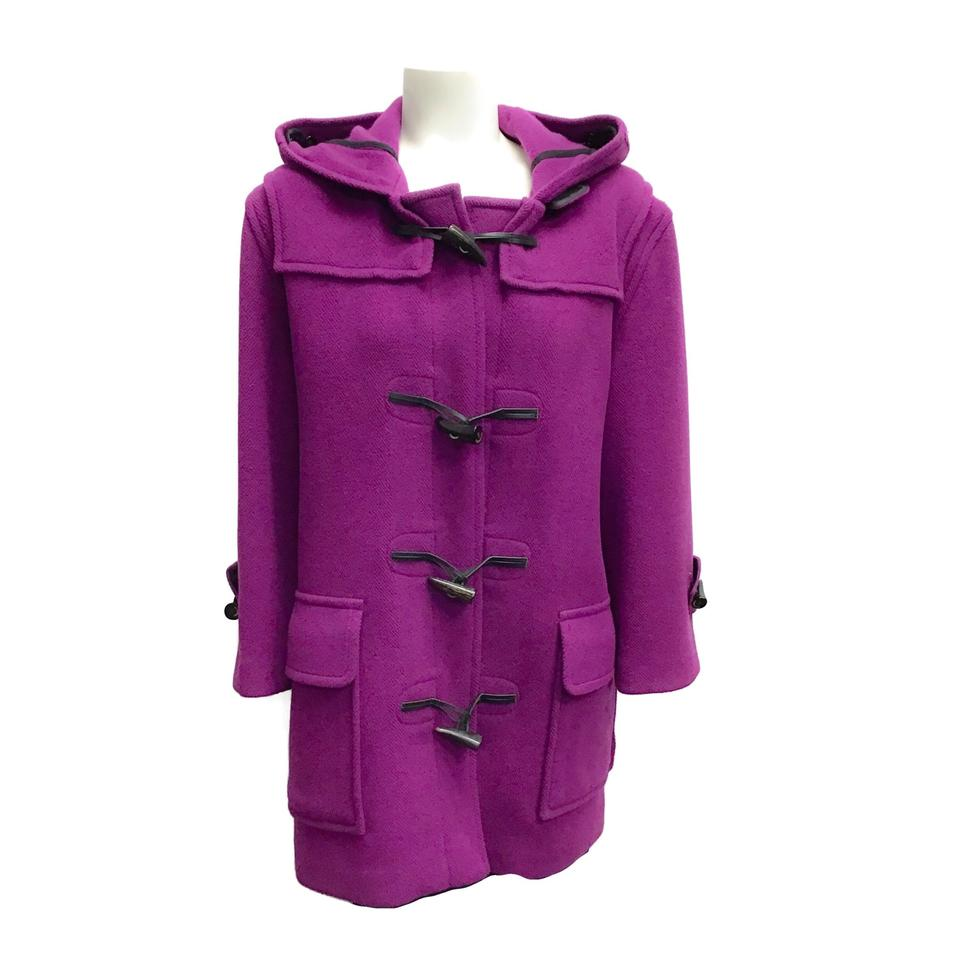 Burberry London Magenta Wool Toggle Coat