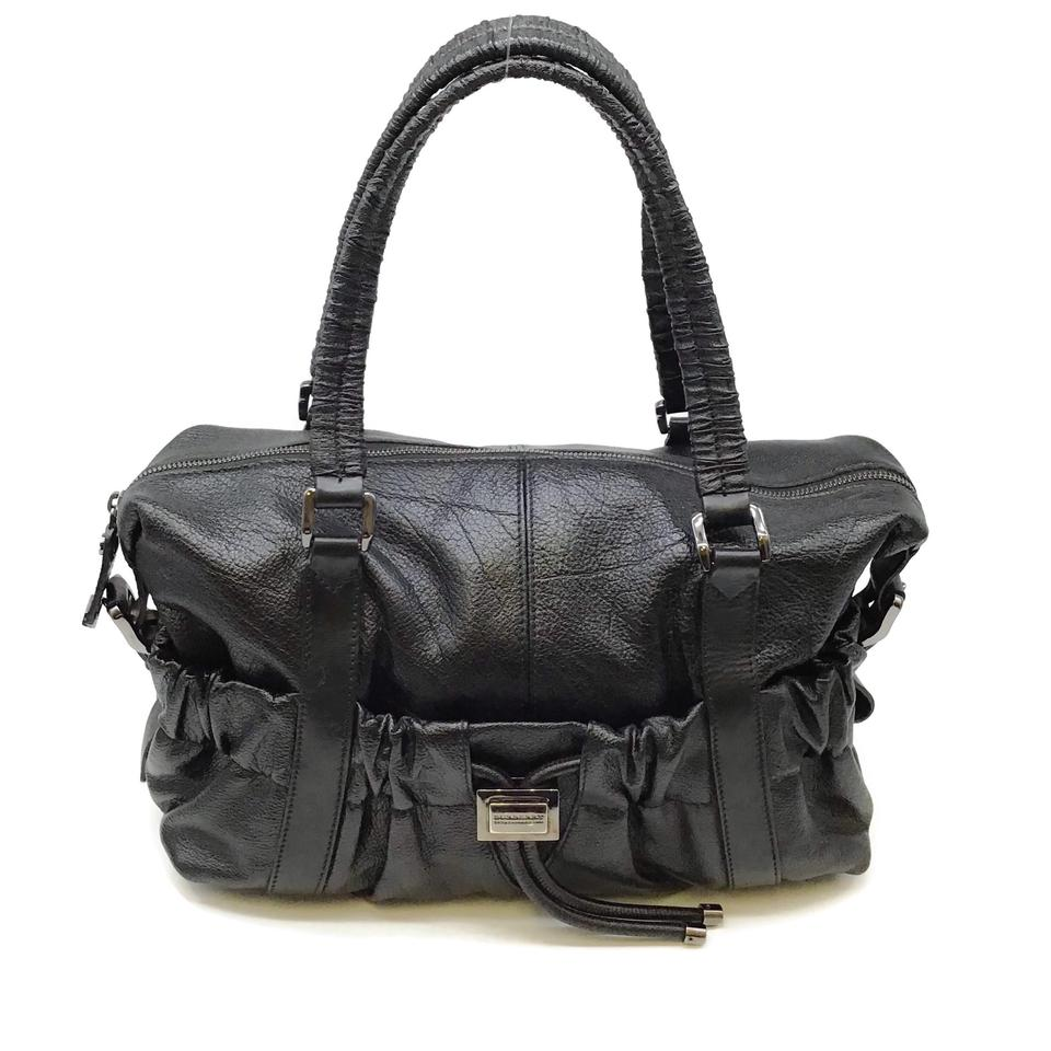 Burberry Ruched Black Leather Satchel