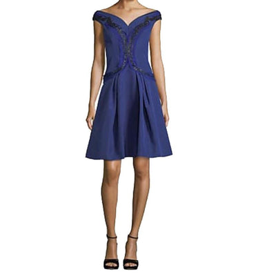 Carolina Herrera Cadet Blue Embroidered Flare Dress
