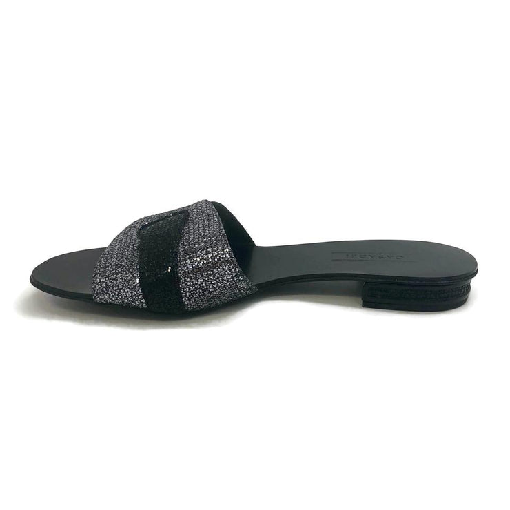 Casadei Black / Gray Slide Flats