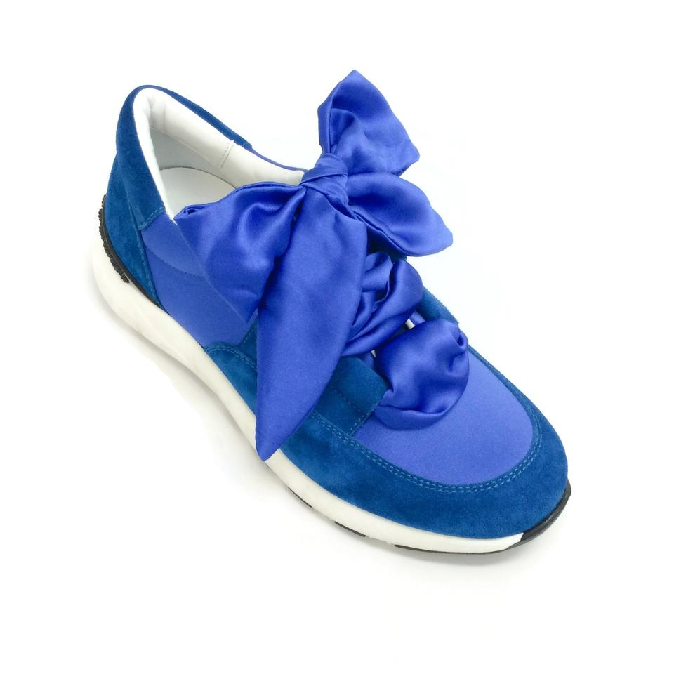 Casadei Cobalt Blue Satin Lace Up Sneakers