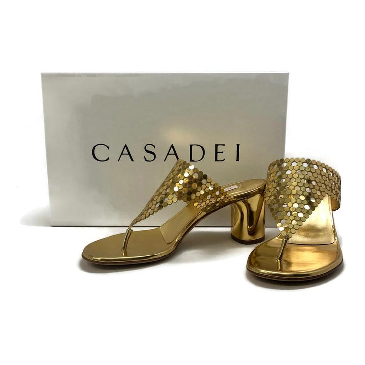 Casadei Gold Barbarella Sandals