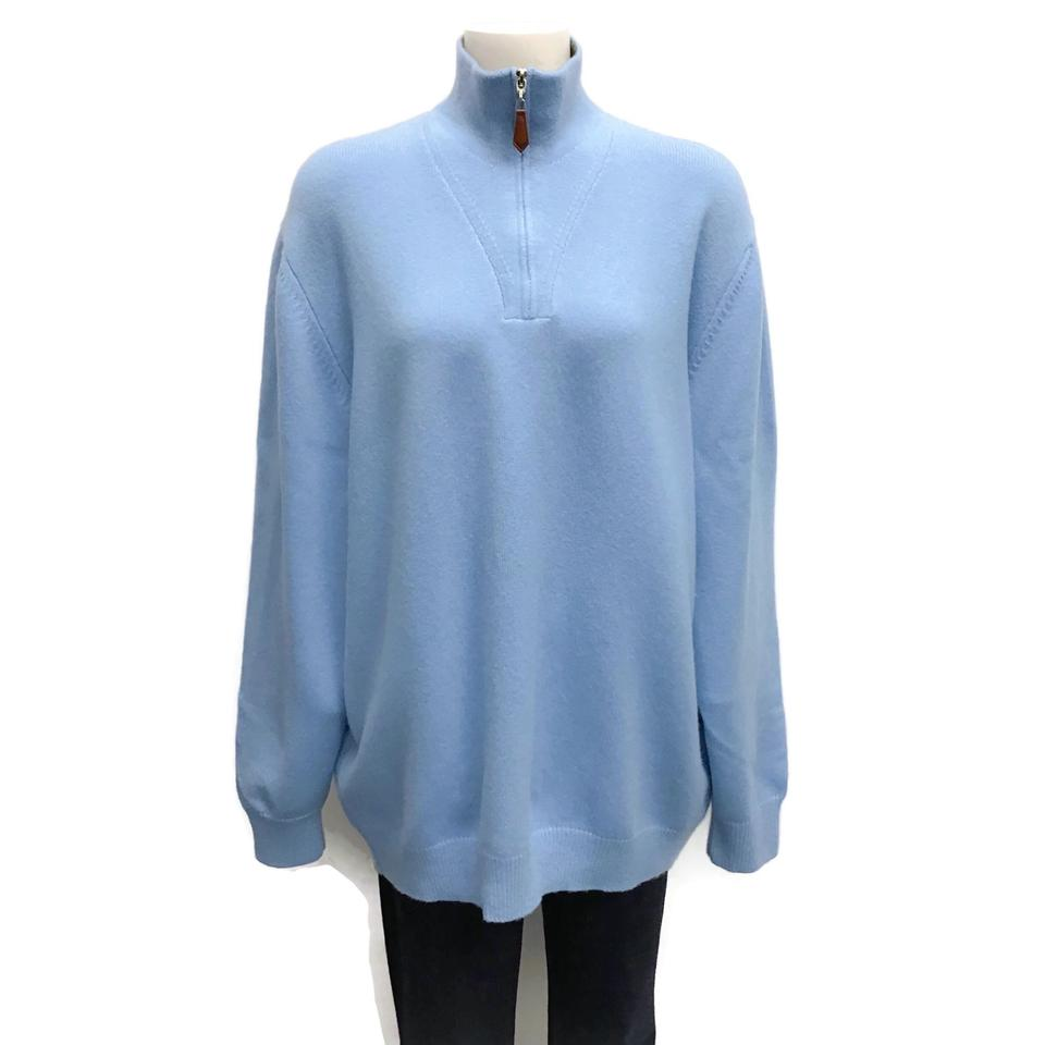 Rani Arabella Cashmere Mock Neck Light Blue Sweater