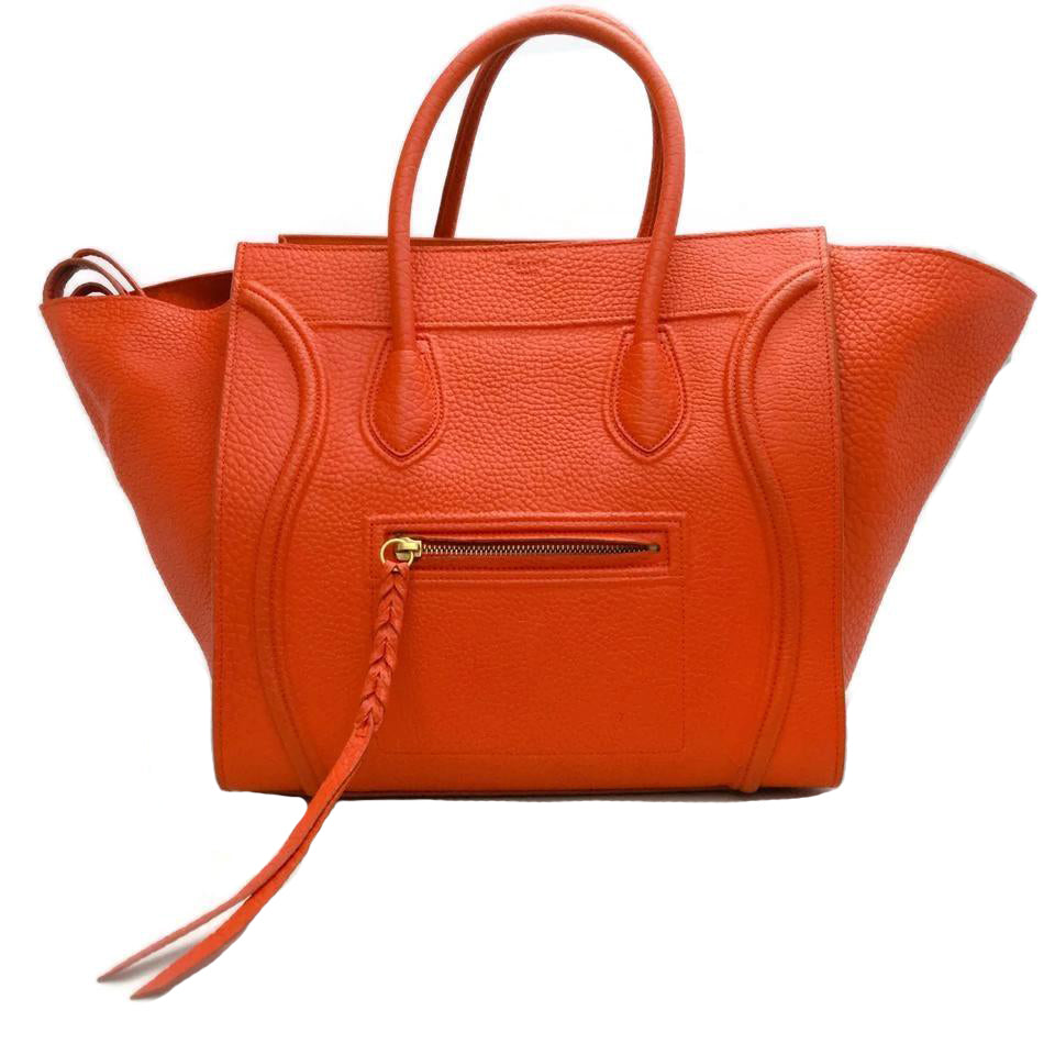 Céline Cabas Phantom Orange Leather Tote
